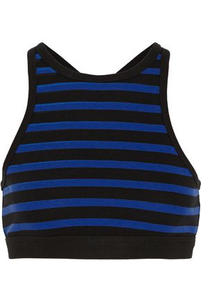 T by ALEXANDER WANG Striped stretch-cotton bra top