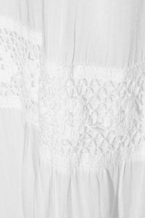 MELISSA ODABASH Ruby crocheted lace-paneled voile maxi dress