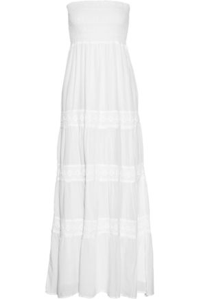 MELISSA ODABASH Ruby crocheted lace-paneled voile maxi dress