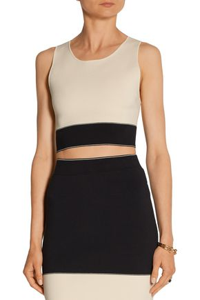 RAG & BONE Regina cropped two-tone stretch cotton-blend top