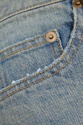 SAINT LAURENT Printed denim shorts