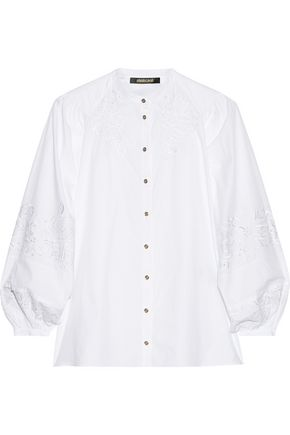 ROBERTO CAVALLI Embroidered cotton-voile blouse