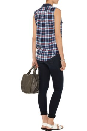 EQUIPMENT Plaid washed-silk top