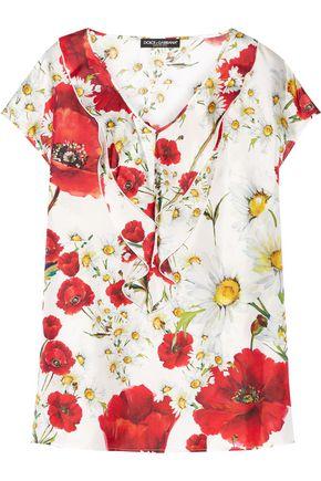 DOLCE & GABBANA Ruffled printed silk-twill top