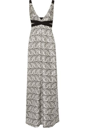I.D. SARRIERI Printed silk-blend twill maxi dress