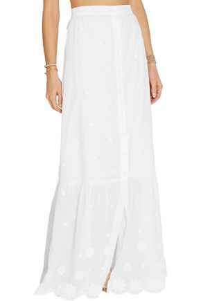 MIGUELINA Aiden embroidered cotton-voile maxi skirt