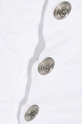 PIERRE BALMAIN Button-detailed quilted stretch-denim shorts