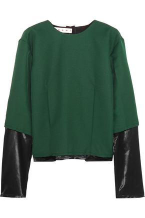 MARNI Satin-paneled twill top