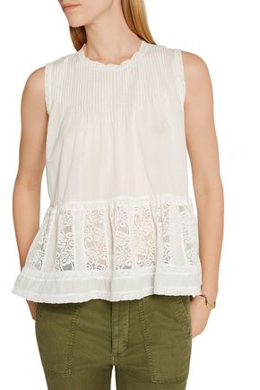 THE GREAT. Jubilee lace-paneled cotton-voile top