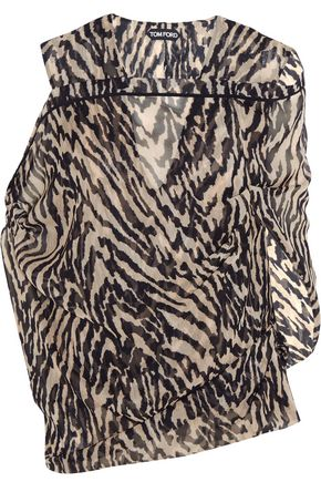 TOM FORD Tiger-print silk-georgette blouse