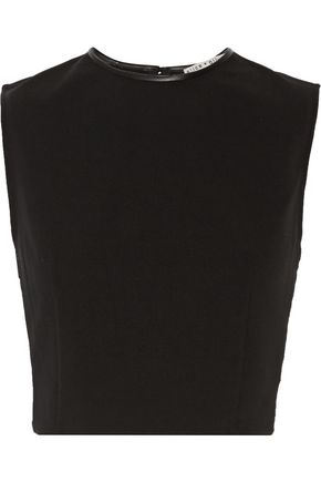 ALICE+OLIVIA Flynn lace-paneled leather-trimmed crepe top