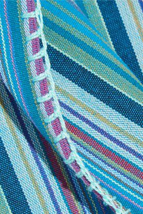 MIGUELINA Vega fringed canvas coverup