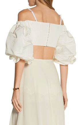ALESSANDRA RICH Off-the-shoulder cropped silk-moire top