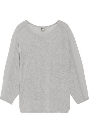 HAUTE HIPPIE Chiffon-trimmed modal-jersey top