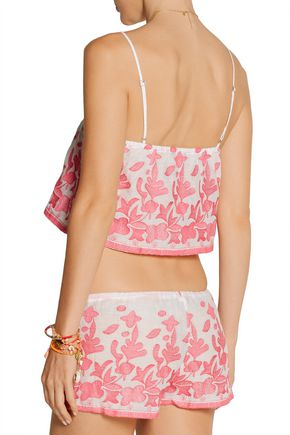 MIGUELINA Chandler embroidered cotton-voile top