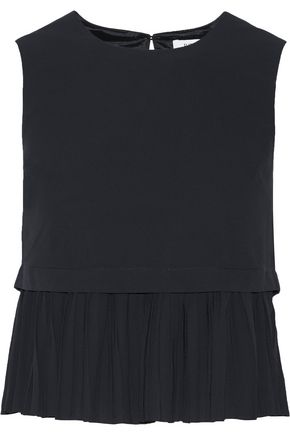 ELIZABETH AND JAMES Dane pleated chiffon peplum top