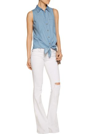 EQUIPMENT Mina tie-front cotton-chambray top
