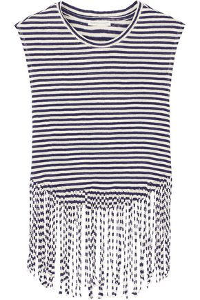 REBECCA MINKOFF Gemini fringed striped linen top