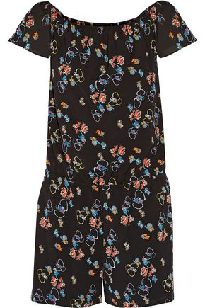 REBECCA MINKOFF Lovino off-the-shoulder floral-print crepe playsuit