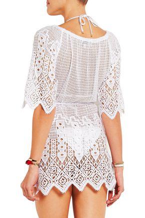 MIGUELINA Bridgette crochet-paneled cotton-lace kaftan