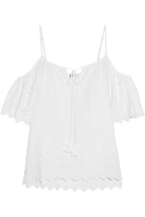 CHELSEA FLOWER Broderie anglaise cotton-blend voile top