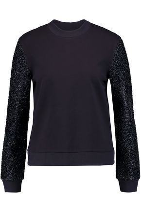 TORY BURCH Tinsel-paneled jersey sweatshirt