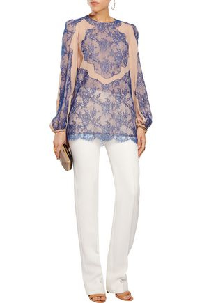 EMILIO PUCCI Lace-paneled silk-chiffon blouse