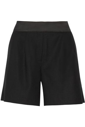 KARL LAGERFELD Evelia satin-trimmed stretch wool-twill shorts