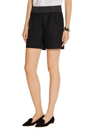 KARL LAGERFELD Evelia satin-trimmed stretch wool-twill shorts