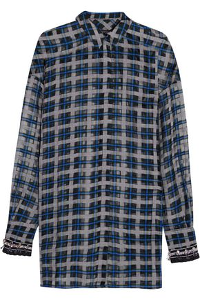 MOTHER OF PEARL Plaid cotton and silk-blend voile shirt