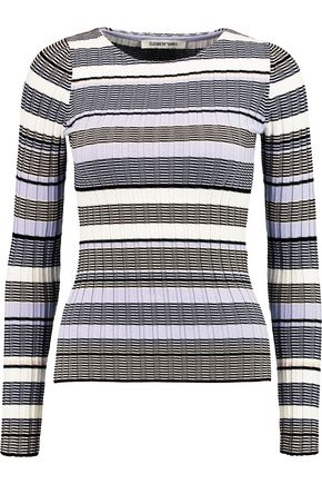 ELIZABETH AND JAMES Striped stretch ribbed-knit top