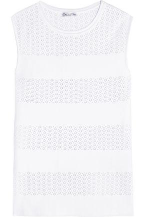 OSCAR DE LA RENTA Perforated stretch-knit top