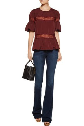 W118 by WALTER BAKER Gwen lace-paneled crepe de chine top