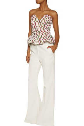 CHALAYAN Rose embroidered floral-print flocked cotton peplum top