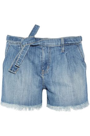 CURRENT/ELLIOTT The Pleated cut-off stretch-denim shorts