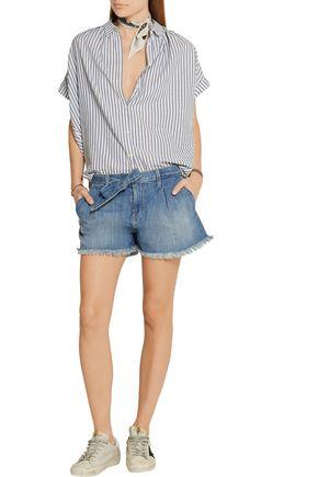 CURRENT/ELLIOTT The Pleated cut-off stretch-denim shorts