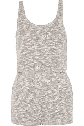 LNA Ale Tank cutout cotton-blend bouclé playsuit