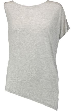 HALSTON HERITAGE Asymmetric slub modal-jersey top