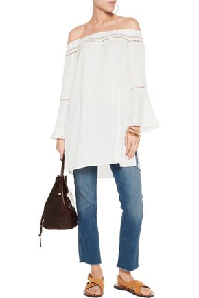 W118 by WALTER BAKER Angel off-the-shoulder gabardine tunic
