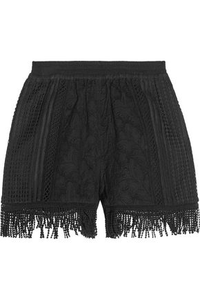 GOEN.J Fringed embroidered cotton shorts