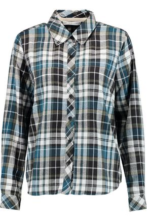 CHELSEA FLOWER Cutout plaid cotton-flannel shirt