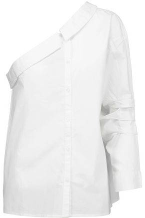 W118 by WALTER BAKER Gina one-shoulder cotton-poplin top