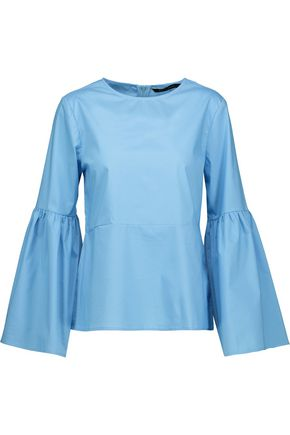 W118 by WALTER BAKER Bristol pleated cotton-poplin top