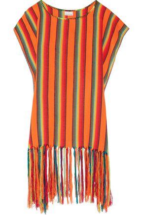 MIGUELINA Vega fringed striped canvas coverup