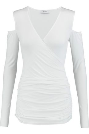 BAILEY 44 Cutout shoulder wrap-effect jersey top