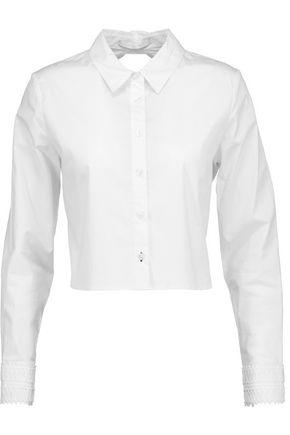 JONATHAN SIMKHAI Cropped cutout stretch cotton-poplin shirt