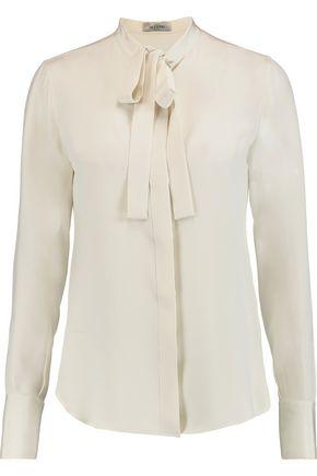 VALENTINO Pussy-bow silk-crepe shirt