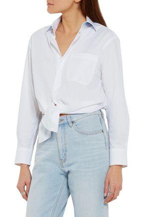 MAJE Tie-front cotton-poplin shirt