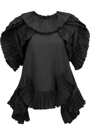 GOEN.J Ruffled plissé-trimmed chiffon blouse