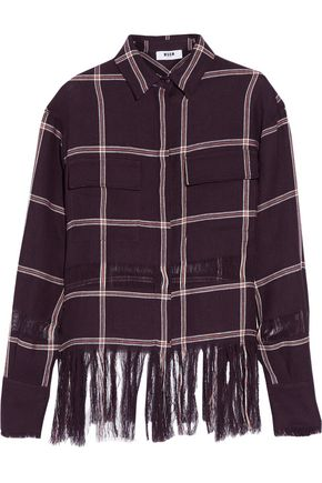 MSGM Fringed checked linen shirt
